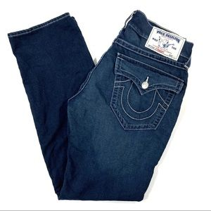 32 True Religion Jeans Straight Dark Wash Flap